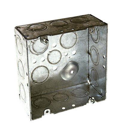 Raco 4-11/16 in. H Square Junction Box 1/2 in. Gray Steel