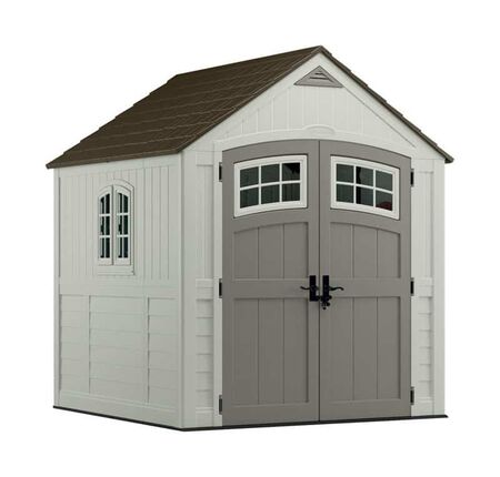 Suncast Cascade 8.5 ft. H x 7 ft. W x 7 ft. D Vanilla Resin Storage Shed