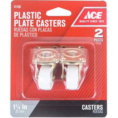 Ace Plastic Caster Wheel with Plate 1-4/5 in. H x 1-4/5 in. W x 1-1/4 in. Dia. 40 lb. White 2 pk