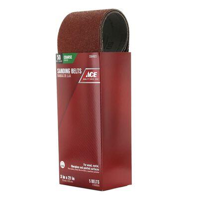 Ace Sanding Belt 3 in. W x 21 in. L 50 Grit Coarse 5 pk