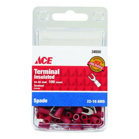 Ace Industrial Spade Terminal Vinyl 100 Red