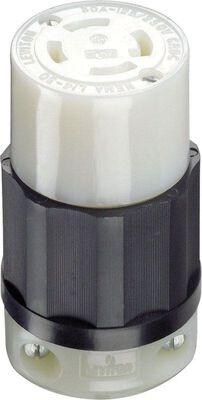 Leviton Industrial Nylon Curved Blade Locking Connector L14-30R 4 wire 3 pole Black/White