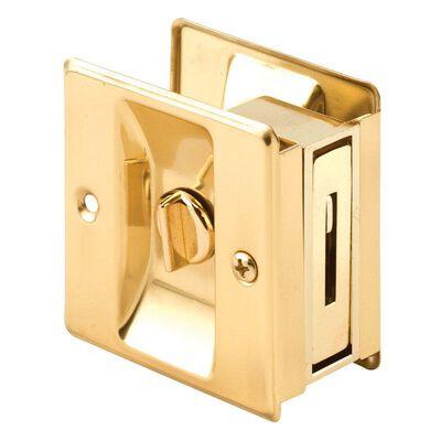 Prime-Line Polished Pocket Door Privacy Lock Brass 1 pk