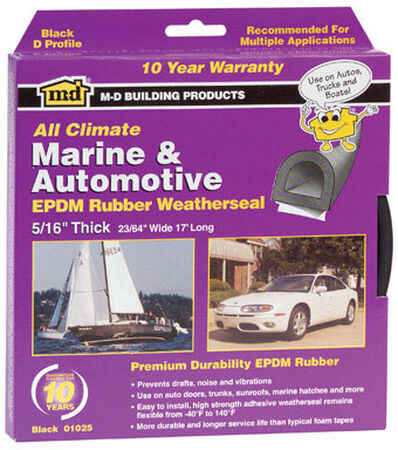 M-D Building Products Auto and Marine Sponge Rubber 10 ft. L x 1/4 in. Weather Stripping Black