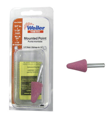 Weiler 3/4 in. Dia. x 0.25 in. Aluminum Oxide grain Cone Stem Mounted Point