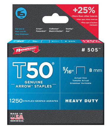 Arrow T50 Wide Heavy Duty Staples Gray 5/16 in. L