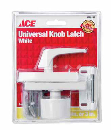 Ace Interior/Exterior Steel White Universal Knob Latch
