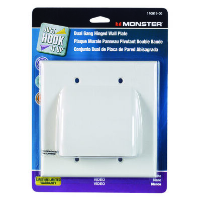 Monster Cable Just Hook It Up 2 gang White Cable/Telco Wall Plate