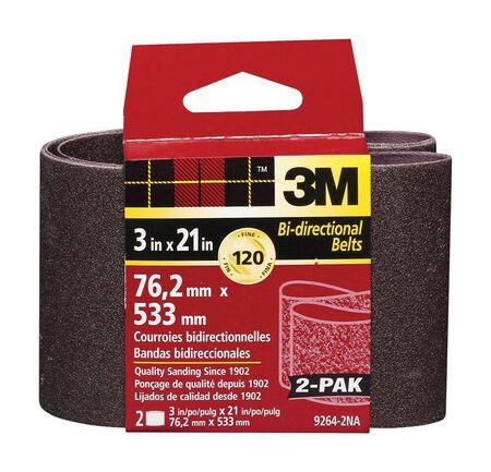 3M Sanding Belt 3 in. W x 21 in. L 120 Grit Fine 2 pk