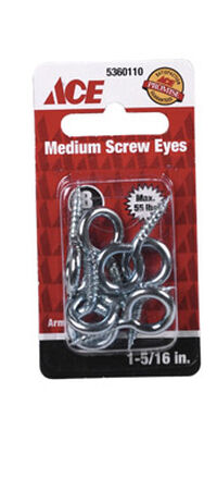 Ace 5/32 1-5/16 in. L Zinc-Plated Steel Screw Eye 8 pk