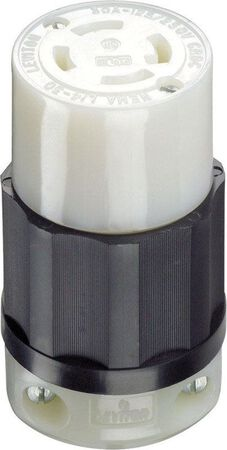 Leviton Industrial Nylon Curved Blade Locking Connector L14-30R 4 wire 3 pole Black/White