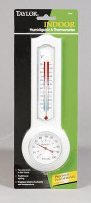 Taylor Humidiguide and Thermometer Indoor 10-120 deg. F 3-1/4 in. x 9-1/2 in. White