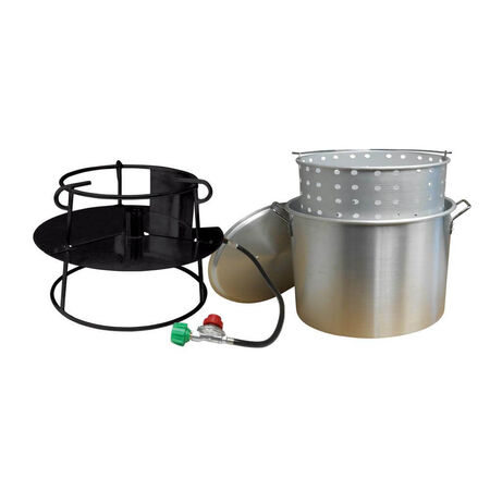 60 Qt. Propane Gas Jet Outdoor Cooker with Aluminum Pot, Basket and Lid