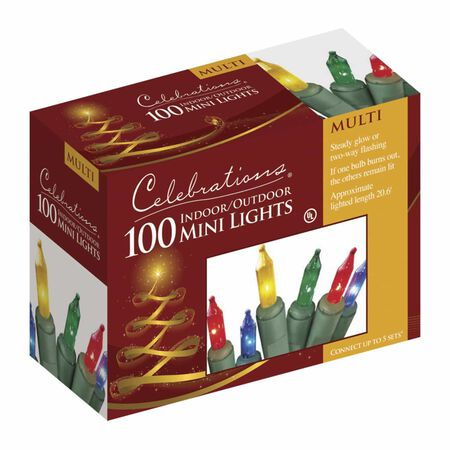 Celebrations Mini Incandescent Light Set Multicolored 20.625 ft. 100 lights