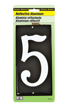 Hy-Ko Nail On White Reflective Aluminum Number 5 3-1/2 in.