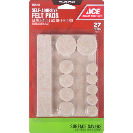Ace Felt Round Self Adhesive Pad Brown 6 in. L 27 pk
