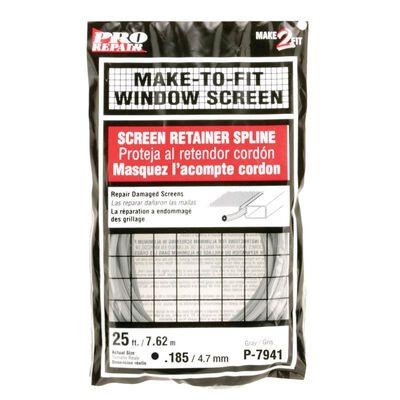 Prime-Line Aluminum and Fiberglass Screening Screen Spline 3/16 in. W x 25 in. L Gray Vinyl