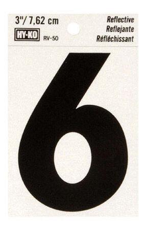 Hy-Ko Self-Adhesive Black Reflective Vinyl Number 6 3 in.