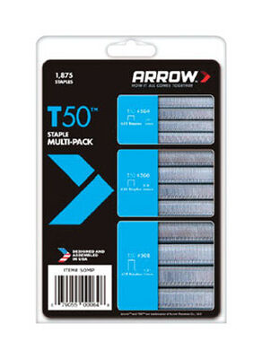 Arrow T50 Assorted Staples Assortment Pack Gray 1/4 3/8 1/2 in. L