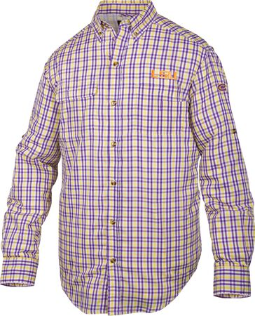 LSU Gingham Plaid Wingshooter's Shirt L/S