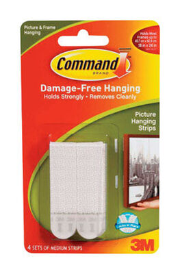 3M Command 3 lb. Medium Picture Hanging Strips Foam 4 pk
