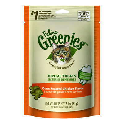 Greenies Oven Roasted Chicken Dry All Ages Cat Dental Treats 2.5 oz.