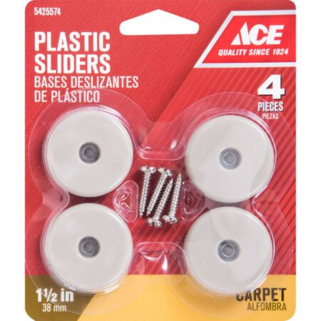 Ace Plastic Round Slide Glide Off-White 1-1/2 in. W 4 pk