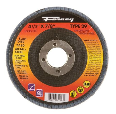 Forney 4-1/2 in. Dia. x 7/8 in. Blue Zirconia Flap Disc 80 Grit