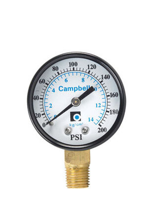 Campbell 2 in. 0 psi 200 psi Pressure Gauge