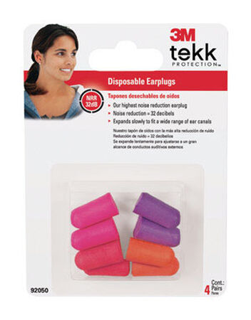 Tekk Disposable Ear Plugs 32 dB Orange/Purple 4 pair