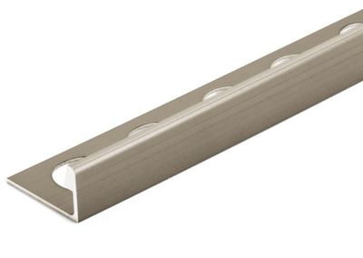 Satin Nickel Anodized 3/8 in. X 98.5 in. Aluminum L-Shaped Tile Edging Trim