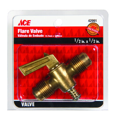 Ace 1/2 in. Dia. x 1/2 in. Dia. Flair Valve Brass