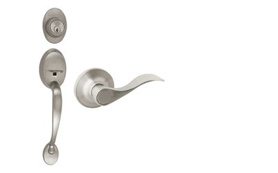 Coventry Satin Nickel Door Handleset with Springdale Interior Lever and Single Cylinder Deadbolt