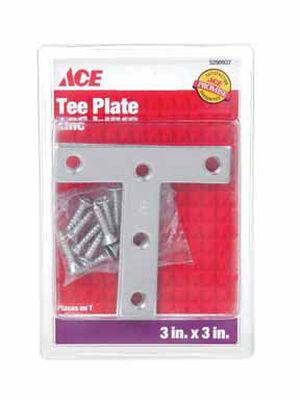 Ace Tee Plate 3 in. x 3 in. Zinc