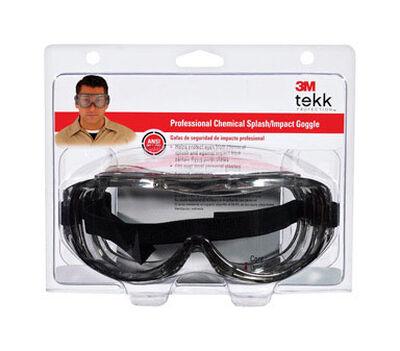 3M Tekk Chemical splash Safety Glasses Antifog Clear Lens Silver Frame Clamshell