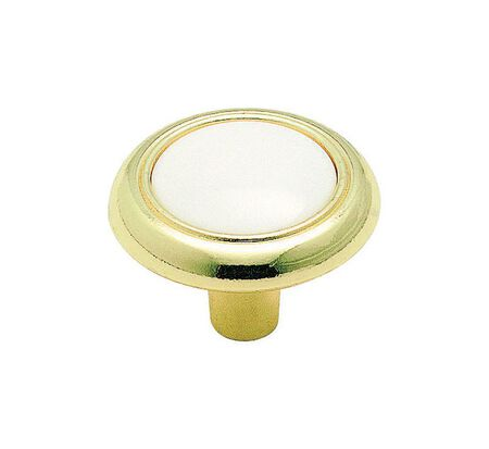 Amerock Allison Round Furniture Knob 1-1/4 in. Dia. 1 in. White and Polished Brass 1 pk