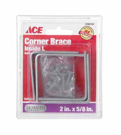 Ace Inside L Corner Brace 2 in. x 5/8 in. Galvanized Steel