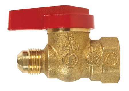 B & K Gas Ball Valve 3/8 in. Flare x 1/2 in. Dia. FPT Brass One Piece