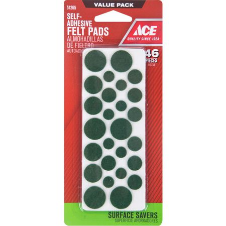 Ace Felt Round Self Adhesive Pad Green 46 pk