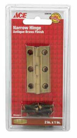 Ace 2 in. W x 1 in. L Narrow Hinge Antique Brass