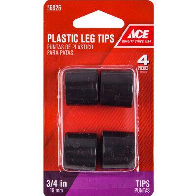 Ace Plastic Round Leg Tip Black 3/4 in. W 4 pk