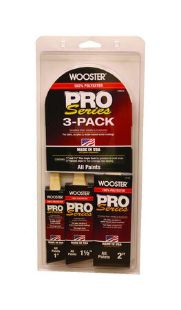 Wooster Pro Series 1, 1-1/2 and 2 in. W Assorted Paint Brush Set