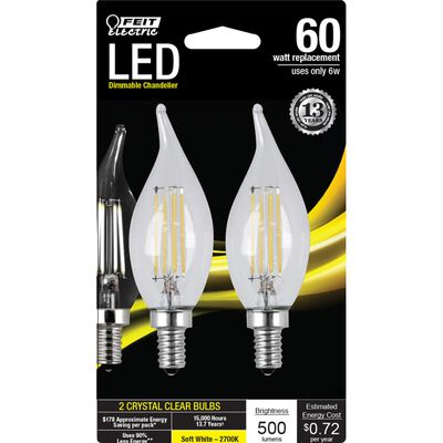 FEIT Electric LED Bulb 6 watts 500 lumens 2700 K Chandelier Flame Tip Soft White 60 watts equiv