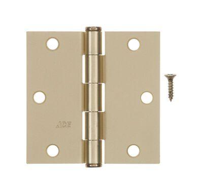 Ace Steel Residential Hinge 3-1/2 in. L Satin Brass 1 pk