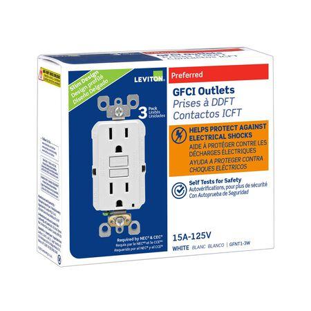 Leviton GFCI Receptacle 15 amps 1-15R 125 volts White