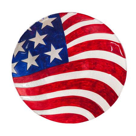 """18"""" Glass Bird Bath, American Flag, 18'' x 3'' x 18'' inches"""