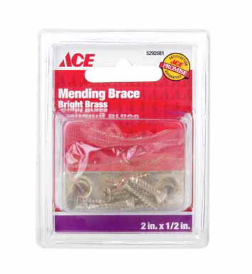 Ace Mending Brace 2 x 1/2 Brass 4 pk Carded