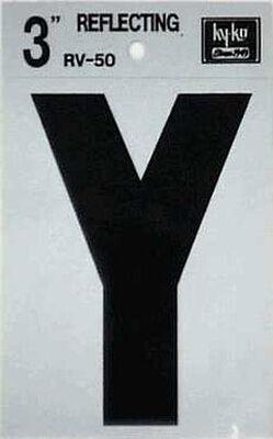 Hy-Ko Self-Adhesive Black Reflective Vinyl Letter Y 3 in.