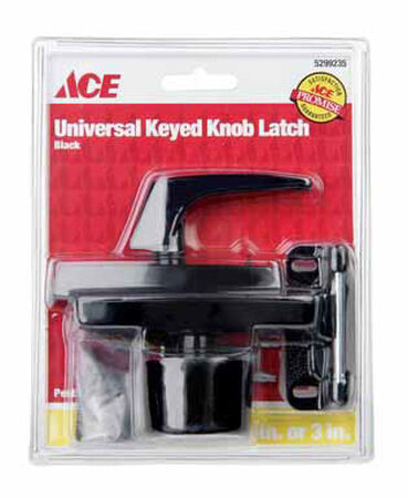 Ace Interior/Exterior Steel Black Keyed Universal Knob Latch