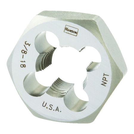 Irwin Hanson High Carbon Steel 3/8 in.-18NPT SAE Hexagon Die 1